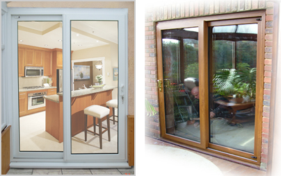 Double glazed inline sliding patio doors corby for Double opening patio doors