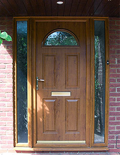 golden oak front door with side panels Burbage, Leicestershire