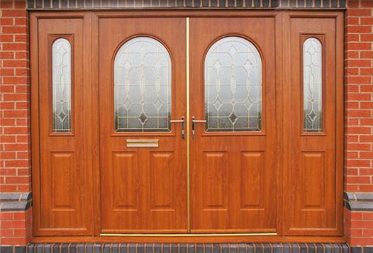 Golden Oak Solidor Double Doors With Matching Side Panels