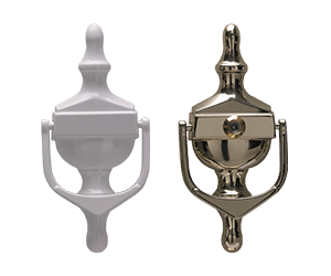 Victorian Urn Knocker in white and in hardex gold with spyhole