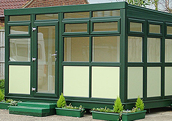 Green frames with buttermilk panels