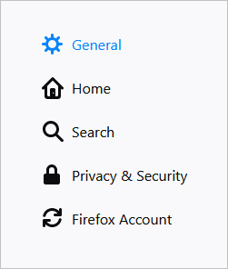 The General settings selector in Firefox.