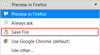The Save File option in Firefox.