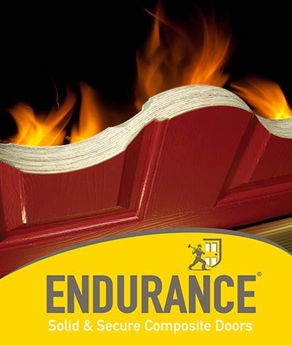 bisected endurance fire door on a fiery background