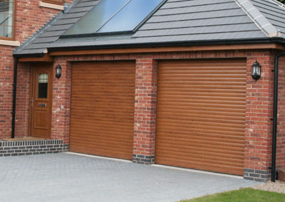 Choices SecureRoll Garage doors matching a front doors colour finish