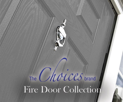 greyscale FD30S Fire Door with CWG Choices Logo in Forefront