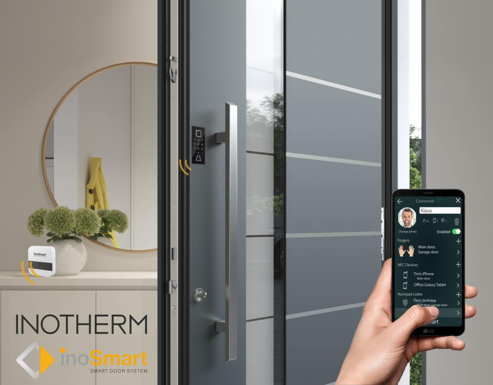 Image of person using inosmart on their phone to control their inotherm door.