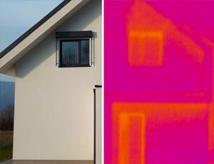 thermal image of a home showing lack of heat escapeing from an innotherm entrance door