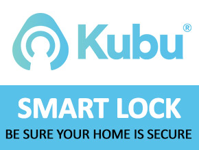 colourful kubu smart lock logo and strapline with a click throgh to the page